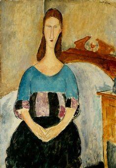 Amedeo Modigliani - Portrait of Jeanne Hébuterne seated, 1918.