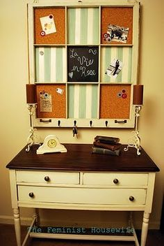 window pane over a desk. You can write notes on the glass with Expo markers, and or put cork in them to make mini cork boards! Too cute!!