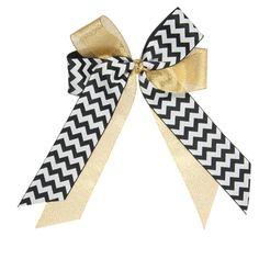 Black & Metallic Gold Medium Criss Cross Cheer Bow