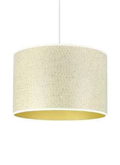 Cream weave wood veneered drum shade with gold lining. Bespoke shapes and sizes on request.