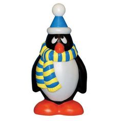 General Foam Plastics Holiday Penguin with Scarf Figurine Color: Blue / Yellow