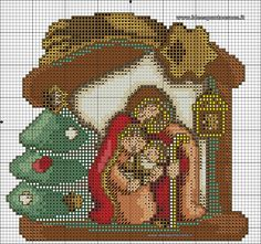 quilting like crazy Xmas Cross Stitch, Beaded Cross Stitch, Cross Stitch Charts, Cross Stitching, Cross Stitch Embroidery, Cross Stitch Patterns, Christmas Nativity, Christmas Cross, Canvas Designs