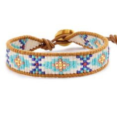 Chan Luu - Turquoise Mix Beaded Bracelet on Henna Leather, Bracelets Design, Bead Loom Bracelets, Beaded Bracelet Patterns, Beaded Wrap Bracelets, Jewelry Bracelets, Jewelry Patterns, Bead Loom Designs, Bead Loom Patterns, Seed Bead Jewelry