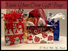 Making your own sturdy gift bags is as easy as saving a few things from being tossed into the trash and adding some festive gift wrap. And if you're a thrifty shopper and buy supplies after season to save for the following year, you also can make these for mere pennies!