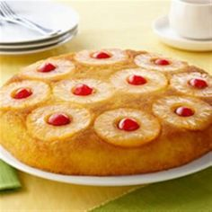 """Pineapple Upside Down Cake from DOLE(R). """"Using a yellow cake mix, you can have this beautiful classic dessert ready to serve in under an hour. READY IN 40 mins. Original recipe makes 8 servings. Dole Pineapple, Pineapple Cake, Pineapple Juice, Pineapple Desserts, Pineapple Recipes, Pineapple Coconut, Box Cake Recipes, Dessert Recipes, Soup Recipes"""