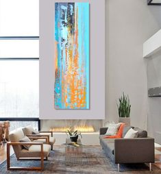 Abstract painting Peinture abstraite 50x150cm / 196x59 par AMOUR63