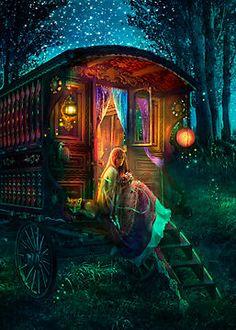 Gypsy Firefly - from Foxfires - The Art of Aimee Stewart - Gallery Gypsy Caravan, Gypsy Wagon, Gypsy Life, Gypsy Soul, Fantasy World, Fantasy Art, Pics Art, Belle Photo, Illustration