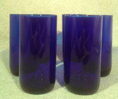 "Set 6 LARGE Vintage Cobalt Blue Tumblers 16 oz. Water Tea Bar Glasses 6"" Tall"