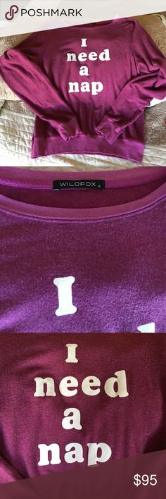⚡️FS⚡️Wildfox BBJ I Need a Nap Sweatshirt Authentic Wildfox I Need a Nap BBJ Sweatshirt in a fun Plum Color. Marked Size Small but Easily Fits a Size Medium Comfortably ✨Price Negotiable via the Offer Button✨Ships from a nonsmoking with fluffy furkids home. Wildfox Tops Sweatshirts & Hoodies