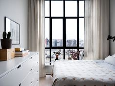The Nordroom - A Scandinavian Apartment With Floor To Ceiling Windows Loft Conversion Floor, Loft Conversion Bedroom, Loft Style Apartments, Loft Spaces, Nordli Ikea, Floor To Ceiling Curtains, Scandinavian Apartment, Patio Interior, Interior Design