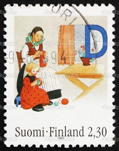 Image detail for -Postage stamp Finland 1993 Mother and Daughter Knitting | Stock Photo ...