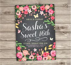 Sweet 16th Birthday Invitations Pretty Spring Flowers Floral Modern Butterfly Party Birthday Adult Birthday printable Digital File