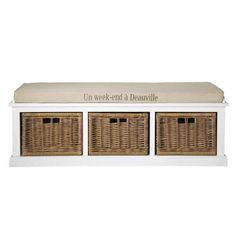 Wood and cotton storage bench in white W 130cm