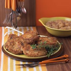 Pork Chops and Applesauce II Recipe Main Dishes with milk, salt, pork chops, bread crumb fresh, minced garlic, fresh rosemary, chopped fresh thyme, vegetable oil, unsalted butter, gala apples, water, sugar, cider vinegar, California bay leaves, ground allspice