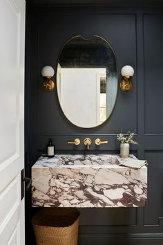 Home Interior Living Room Bold Marble Is Going Mainstream (And We're Here For It) Bathroom Interior Design, Home Interior, Bathroom Sink Design, Living Tv, Living Room, Powder Room Design, Downstairs Toilet, Amber Interiors, Small Bathroom