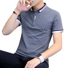 T Shirt Polo, Tee Shirt Homme, Short Sleeve Polo Shirts, Collar Shirts, Tee Shirts, Shirt Men, Polo Shirts For Men, Men's Polo, Slim Fit Polo