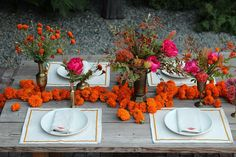 Marigold garlands scattered across the #wedding reception tables.