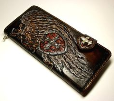 Handmade handtooled leather biker wallet by PFLeatherGlass on Etsy