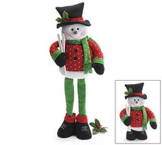 """Fabric snowman with expandable legs. Wood in shoes to help snowman stand up.With legs fully expanded, snowman measures: 28""""H X 12""""W X 4""""D.Set of 2."""