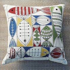 I love the Outdoor School of Fish Pillow on westelm.com