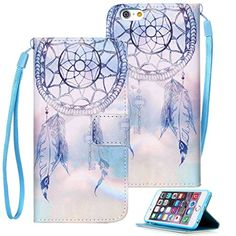 6s Plus, iPhone 6s Plus Case, iPhone 6 Plus Case, Etubby [Wallet Stand] PU Leather Wallet Flip Protective Case with Card Slots and Wrist Strap for Apple iPhone 6 Plus & 6s Plus 5.5″ – DreamCatcher