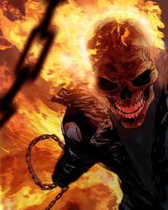 Ghost Rider from Marvel comics - art by by ryanbnjmn on deviantART (Ryan Benjamin) Comic Book Characters, Comic Book Heroes, Marvel Characters, Comic Character, Comic Books Art, Comic Art, Ghost Rider Johnny Blaze, Ghost Rider 2, Ghost Rider Marvel