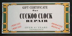 Christmas Gift Certificate For Vintage Cuckoo Clock Repair