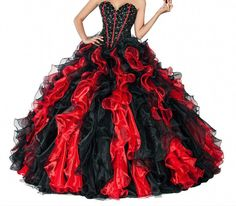 New Red/Black Quinceanera Dresses Ball Prom Formal Evening Wedding Gown Custom #Unbranded #Formal