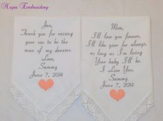 Wedding Handkerchiefs Embroidered Personalized by #NapaEmbroidery
