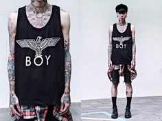 tattoo and boy london image Underground Shoes, Boy London, Aesthetic Clothes, Uniqlo, Boy Outfits, Tank Man, Topshop, Mens Fashion, Skinny