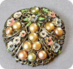 Round Floral Pot Metal Brooch Faux Pearls Enamel by vintagepaige, $34.00