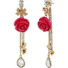 Betsey Johnson Flower Front And Back Earring ($50) ❤ liked on Polyvore