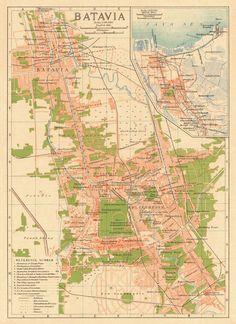 Old map of Djakarta Batavia, (1920)