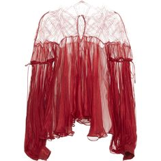 Maria Lucia Hohan Dilana Chiffon Blouse ($1,045) ❤ liked on Polyvore featuring tops, blouses, red, sleeve blouse, red blouse, relaxed fit tops, red chiffon top and red top