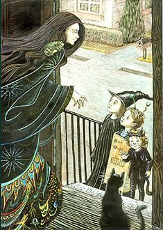 I LUV that the little black cat trick-or-treater is waving to the actual black cat.