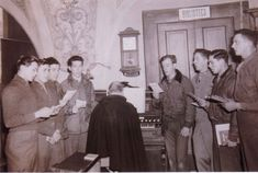 "463RD Bomb-Group Choir: May, 1945  ""In the Choir Loft singing the Mass of the Angels in Latin for Padre Pio's Mass."