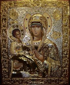 John Damascene's icon of the Mother of God With Three Hands in the New Gracanica Serbian Orthodox monastery church in Grayslake, Illinois. Catholic Art, Religious Art, Art Painting Images, Christian Artwork, Russian Icons, Mary And Jesus, Byzantine Icons, Art Icon, Orthodox Icons