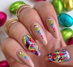 Rainbow. Colorful. Multi. Accents. Nails.