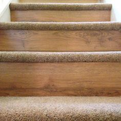 Carpet on tread and wood or laminate flooring on the riser. This design by BP Carpets and Flooring adds an extra luxury touch to look and feel of your stairs. BP Carpets - Google+.