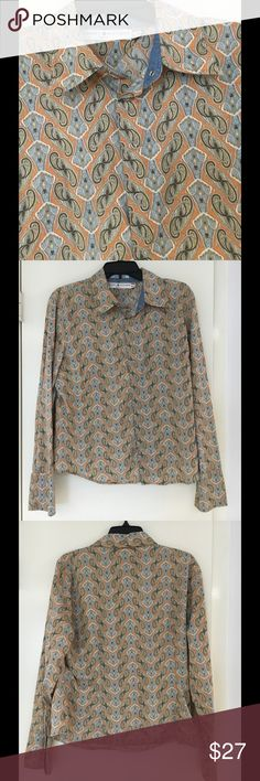 """Tommy Hilfiger Cotton Shirt Great boho print in a """"button"""" down shirt.  Note that shirt has snaps rather than buttons (see last photo).  Cuffs and collar denim lined.  Bust 42"""", tapers to 40"""" so although marked XL fits more like a large. Center back and sleeves measure 25"""". Tommy Hilfiger Tops Button Down Shirts"""