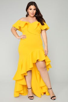 8d56904cf71136 Miss You More Mermaid Dress - Yellow Curvy Fashion, Trendy Fashion, Fashion  Trends,