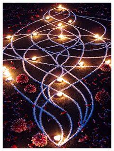 Whitney Krueger visionary art sacred celestial divine kolam rangoli language of light ephemeral earthereal