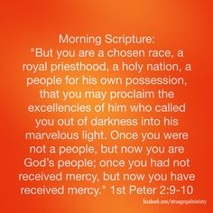 Morning Scripture: you are a chosen race, a royal priesthood, a holy nation, a people for his own possession, that you may proclaim the excellencies of him who called you out of darkness into his marvelous light.. #morningscripture #scripturequote #biblequote #instabible #instaquote #quote #goodmorning #seekgod #godsword #godislove #gospel #jesus #jesussaves #teamjesus #LHBK #youthministry #preach #testify #pray #faith #light #love