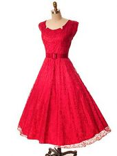 50s Jay Thorpe Red Lace Tea Length Party Dress