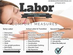 Labor Comfort Measures Guide www. Doula Business, Birth Affirmations, Pregnancy Affirmations, Pregnancy Labor, Pregnancy Health, Birth Doula, Childbirth Education, Baby Time, New Baby Products
