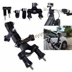 GoPro accessories Bike Motorcycle Handlebar Seatpost Pole Mount & 3 Way Adjustable Pivot Arm for Go pro Hero 2 3 3+ 4 xiaomi yi