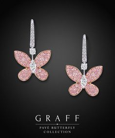 I want these.  Graff Diamonds: Pink Pavé Butterfly Earrings.  Via @likemandy. #Graff  #Diamonds