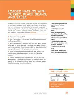 Rocco Dispirito's Loaded Nachos - PER SERVING: 341 calories 7 g fat - Protein: 30g Carbohydrates: 43g Cholesterol: 46mg Fiber: 6g Sodium: 1,233mg