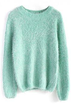 Fluffy Sweater in Mint