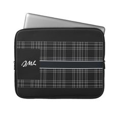 Black Plaid Laptop Protective Sleeve Laptop Computer Sleeves